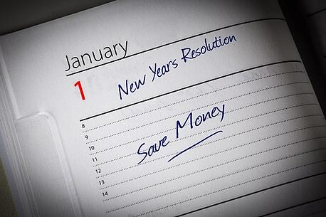 Planner showing January 1st with Save Money goal